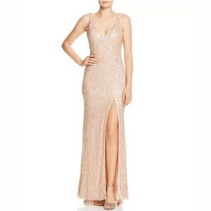 Mac Duggal Sequined Fishtail Gown Rose Gold